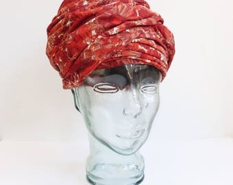 Vintage 60's Floral Turban Hat/ Red Pink 1960s Beehive Hat/Saks Fifth Avenue