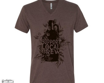 Unisex V-Neck Support LOCAL BREW  vintage soft T Shirt xs s m l xl xxl (+ Colors) Zen Threads