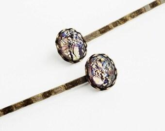 Amethyst Hair Pins Glass Opal Bobby Pins Vintage Purple Glass Fire Opal Hairpins Amethyst Bobby Pins Victorian Bridal Hair Pin Wedding