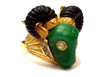 RESERVED - Hattie Carnegie Ram Ring, Vintage Designer Carnegie Jewelry, Sapphire & Jade Thermoset Plastic Ring, Rare Carnegie Bull Ram