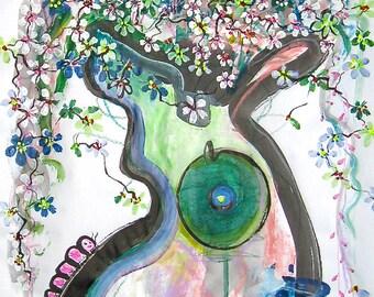 "forestgreen abstract painting 36"" 18""modern flower art, green white pink flower painting, sjkim, acrylic green painting, green blue art"