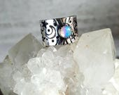 Ethiopian Opal and Sterling Midi Ring Upper Knuckle