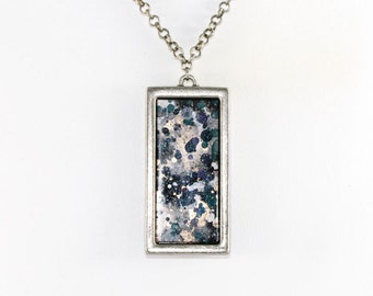 Splatter Painting Pendant - Acrylic in Pewter Rectangle Necklace - Black, Silver, Teal, Gray - One-of-a-kind Jewelry Gifts For Her