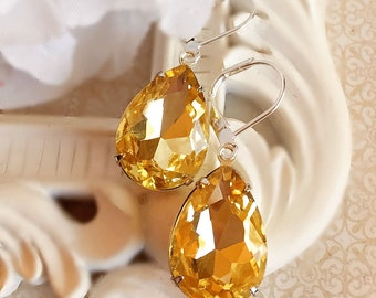 Spring Jewelry - Yellow - Spring Earrings - Silver - CAMBRIDGE Citrine