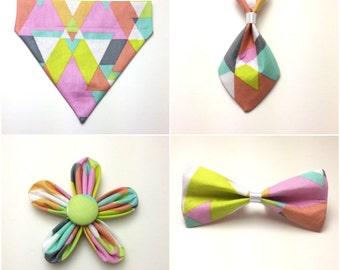 Pet Accessory - Neon Triangles - Over the Collar - Custom - Bandana, Bow Tie, Neck Tie, Flower