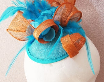 Derby fascinator blue orange fascinator mini hat FIREBIRD