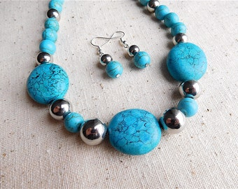 Handmade Faux Turquoise Blue Necklace & Earrings Set (Item S 53)