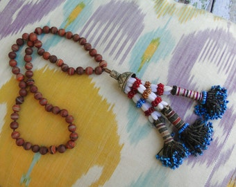 KUCHI TRIBAL Beaded TASSEL Necklace, yoga, tribal, boho, Turkoman