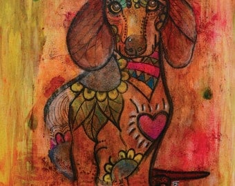 "Miniature Dachshund - limited edition print - dog - 5"" x 7"""