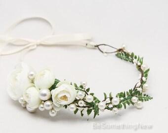 Ivory Floral Flower Crown of Fern Flowers and Pearls, Beaded Woodland Wedding Hair Halo Flower Crown Boho Wedding Bridal Hair Wreath