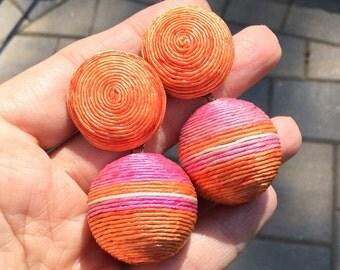Cord Wrapped Ball Dangle Pierced Earrings in Orange Raspberry Sherbet Colors