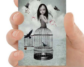 The One They Left Behind - ACEO - ATC - Artist Trading Card - Birdcage Girl & Birds