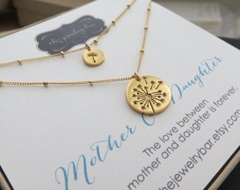 gift for mom gold dandelion mother daughter necklace sets with 14k gf satellite chain luxury set