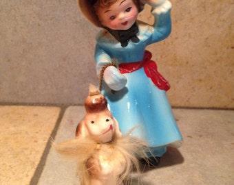 Girl with a Dog China Doll Figurine