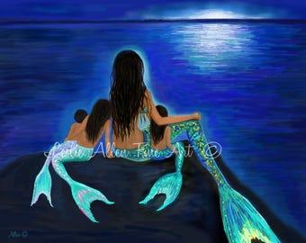"Mermaid Art Mermaid Print Painting Mother Daughters Sisters Family Mom Art  Decor Wall Art  ""My Precious Little Ones""  Leslie Allen Fine Art"