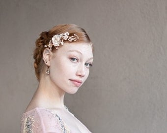 Gold Blush Flower Comb, Wedding pink gold flower hair vine, Cherry Blossoms Flower hair bouquet with crystal sprays, Boho wedding hairpiece