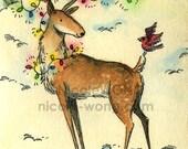 Original ACEO Watercolor Painting and Ink Drawing Artwork -- Christmas Reindeer