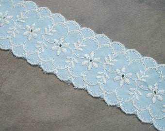 Vintage Light Blue and White Embroidered Trim Scalloped Edge Over 8.5 yards