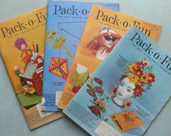4 Vintage 1974 Pack O Fun Scrap Craft Magazines
