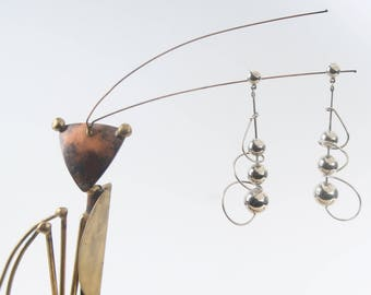 vtg 60s modernist sterling earrings mid century modern silver wire spiral 3 inch pierced dangle