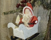 Primitive/SANTA ORNAMENT/vintage style handcrafted/Christmas ornament/tree/winter/sleigh/hand made/putz style