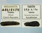 Long Skinny MOLDAVITE And IRGIZITE Tektite Meteorite Impact Glass 2 Rare Tektites From Czech Republic And Kazakhstan