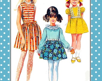 Vintage 1968-PRETTY PARTY DRESS-Sewing Pattern-Three Styles-Lace Collar-Trimmings-Sleeve Variations-Contrast Fabric-Tie Bow Belt-Size 8-Rare