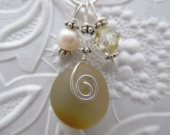Yellow Sea Glass Necklace Beach Glass Necklace Sea Glass Jewelry English Sea Glass Pendant
