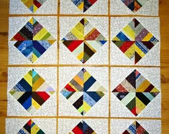 12 Quilt Blocks  10.5 inch String Blocks Unfinished Bedding Quilt Handmade Sewn Pieced