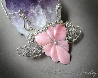 Flower Necklace - Rhodochrosite and Sterling Silver