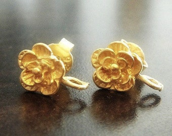 Bali Vermeil Earpost, Rose Post Earrings, 24kt over 925 Sterling Silver, 11x8mm with open loop , 1 pair