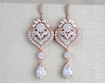 Rose Gold earrings, Bridal earrings, Bridal jewelry, Chandelier earrings, Long Bridal earrings, Statement earrings, Crystal earrings, EMMA