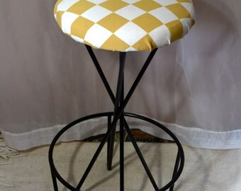 Metal Stool Atomic Mid Century Modern Stool Black Iron Hairpin Bar Stool