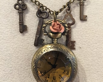 Vintage Rose Key Pocket Watch