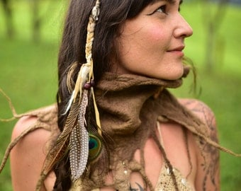 Felt Scarf-Pixie Woodland Neck Warmer-Cowl-Scarf-Shawl- Tribal Wool Cowl-Pixie Neck Warmer-Brown Scarf-Felt Wool-Tree Roots Neck Warmer OOAK