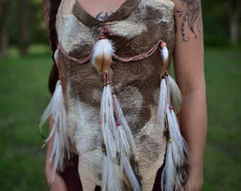 Felt Warrior Halter Top-Emu Feather Adorned Top-Native American Indian Costume-Feather Top-Primitive Costume-Tribal Costume-Tribal TopOOAK