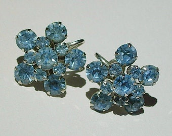 Vintage Earrings with Blue Rhinestones - Screw Backs