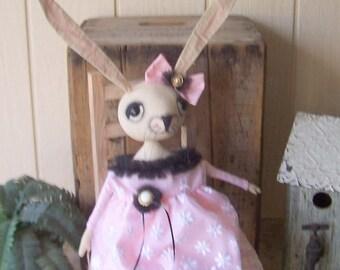 Primitive Bunny Art Doll Rabbit Shabby Cottage Chic Dressy Pink Black Organza Batiste Tulle Netting Debutante  OFG HAFAIR FAAP