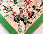vintage Western scarf, bandana, cowboy scarf, Bronco horse riding equestrian, unisex accessory, 1950s Western scarf