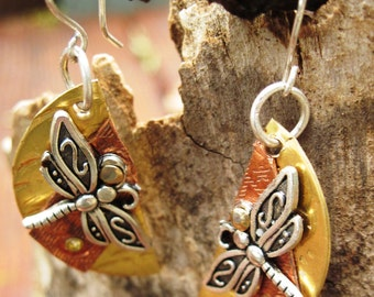 Half moon mixed metal dragonfly  dangle earrings