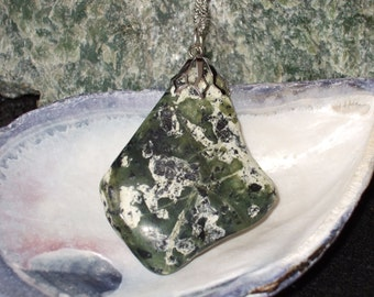Newfoundland Serpentine Natural Tumbled and Polished Gemstone Pendant Necklace Shades of Green Ultramafic Sterling Silver Chain 26 Inches