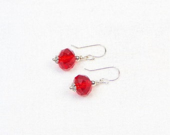 Crystal Earrings - Sterling Silver - Czech Crystals - Gift For Her - Red Crystals - Beaded Earrings - Dangle Earrings