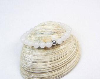 White Jade Bracelet - Stretch Bracelet - Stackable Bracelet - Gemstone Beaded Bracelet - Womens Bracelet - Gift
