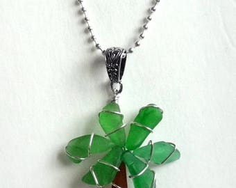Sea Glass Palm Tree Pendant and Necklace
