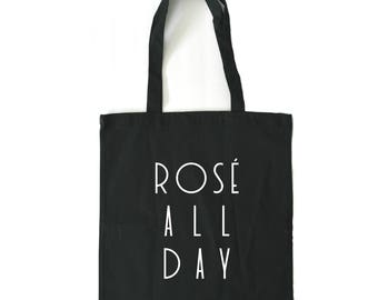 rosé all day, tote bag, bridal party tote bags, wine gift, gift for her, yes way rose, rose all day shirt, tote bags for bridesmaids
