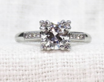 Art Deco Style Platinum Diamond Engagement Ring .93 Carats