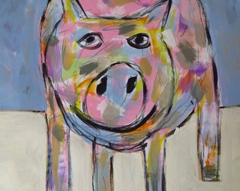 Pig, Painting, Child Decor, Folk Art, Original