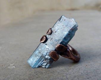 Kyanite Copper Ring, Chakra Balancing and Aligning, Tranquility, Meditation, Throat Chakra, Third Eye Chakra, One of a Kind, Boho, Size 6.75