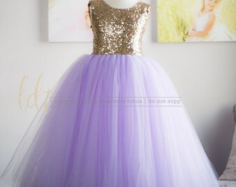 NEW! The Juliet Dress in Gold Sequins and Lavender - Flower Girl Dress