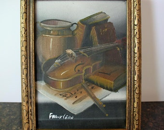 Picture Frame Box, Frank Lean Art, Framed Picture, Original Oil Painting, Still Life, Jewelry Box, Hinged Wood Box, Storage Box, Cigar Box